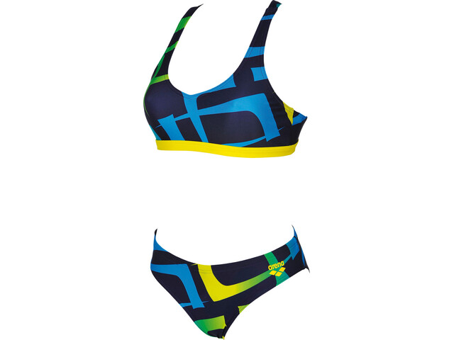 arena Scrawl Two-Pieces Swimsuit Damen navy-yellow star